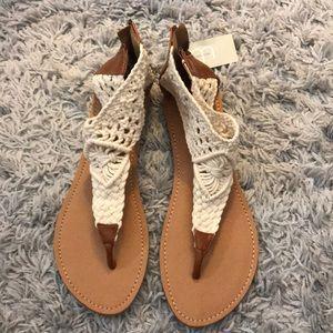 Cream & Brown Crochet Sandals